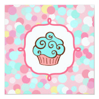 Aqua Swirl Cupcake Invitations