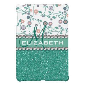 Aqua Turqoise Monogram Flower Glitter Pattern iPad Mini Cases