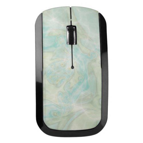 Aqua Turquoise Marble Wireless Mouse
