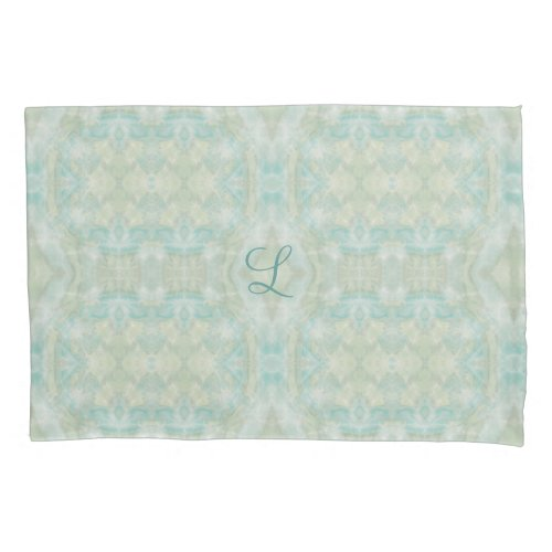 Aqua Turquoise Monogram Pillowcase