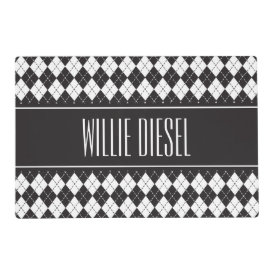Argyle Pattern Personalized Pet Placemat Laminated Placemat