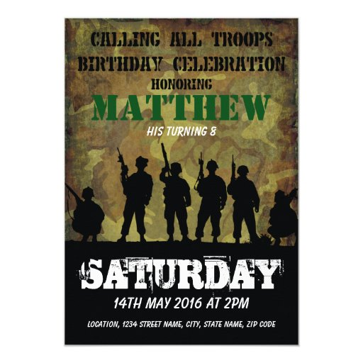 Army Rustic Camouflage Soldiers Kids Birthday Card Zazzle