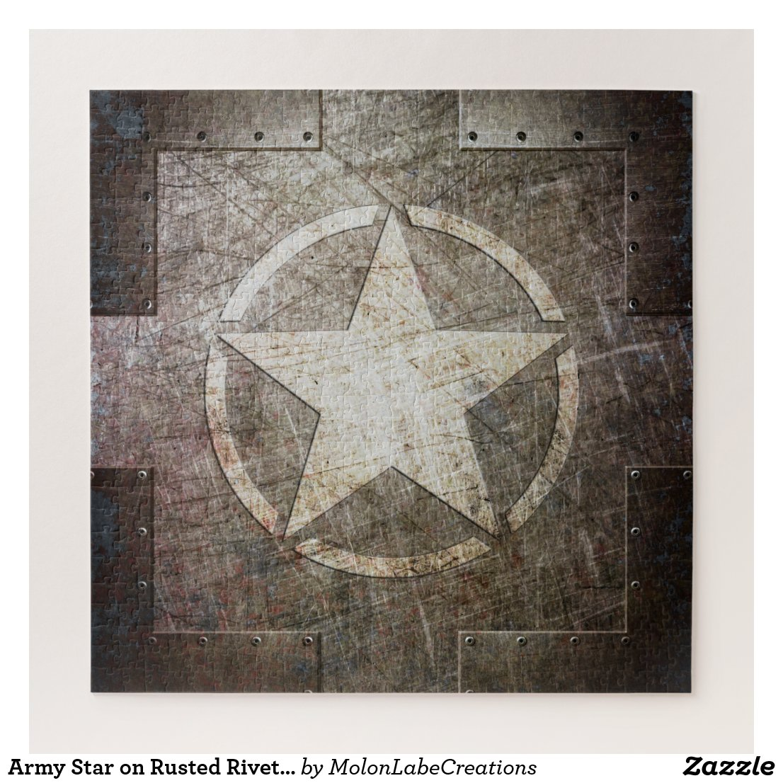 Army Star on Rusted Riveted Steel Plate Jigsaw Puzzle