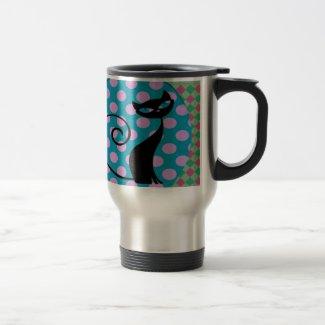 Retro Black Cat Mugs