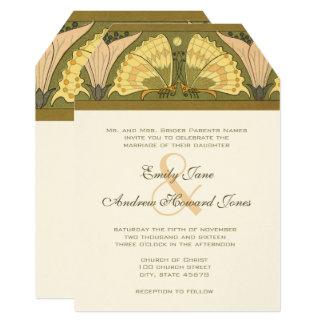 Art Deco Erfly Calla Lily Wedding Invitation