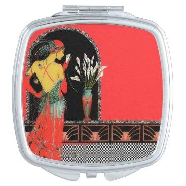 Art Deco Square Compact Mirror