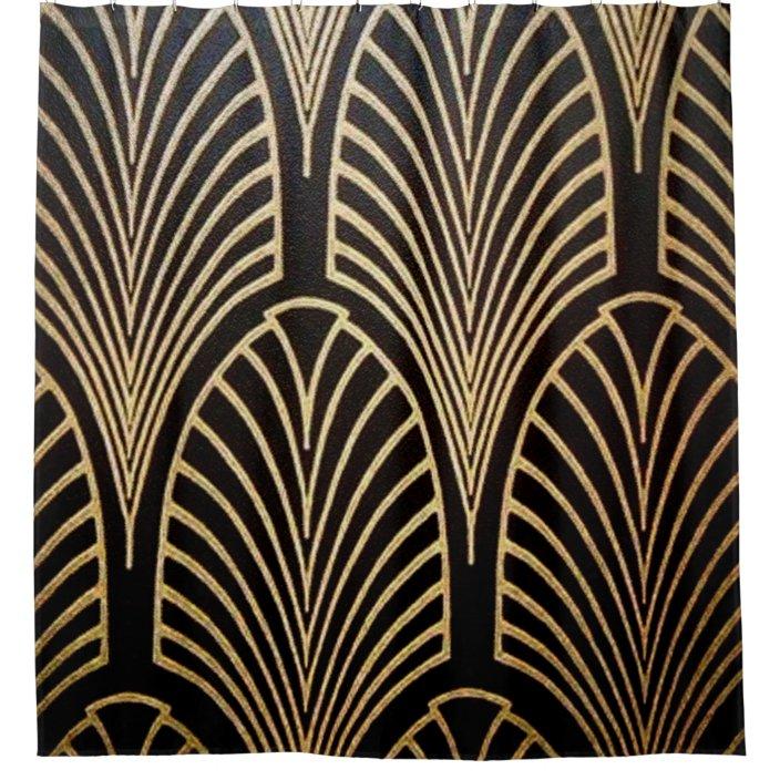 art nouveau art deco fan pattern bronze gold bl shower curtain zazzle com