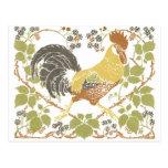 Pretty Art Nouveau Rooster Postcard