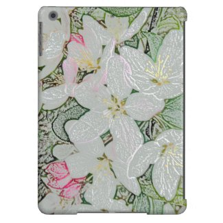 Art Nouveau Style Floral White Spring Flowers iPad Air Case