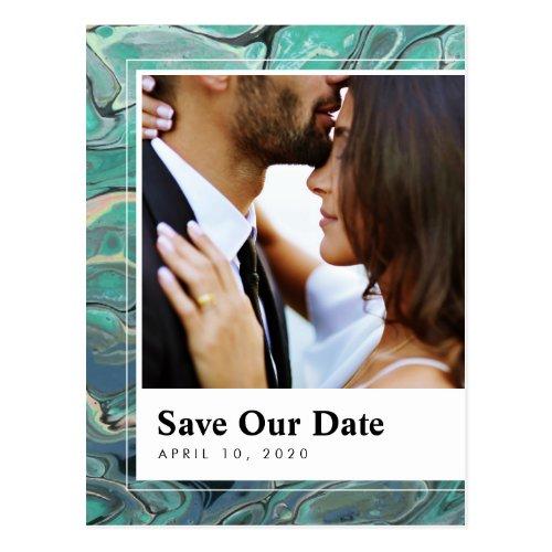 Artistic Boho Aqua Marble Save the Date Postcard