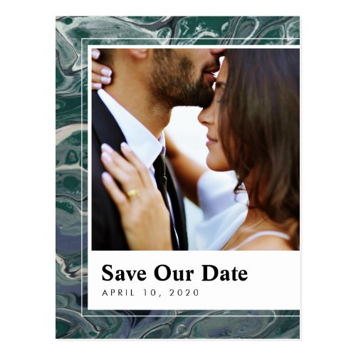 Artistic Boho Green Marble Save the Date Postcard
