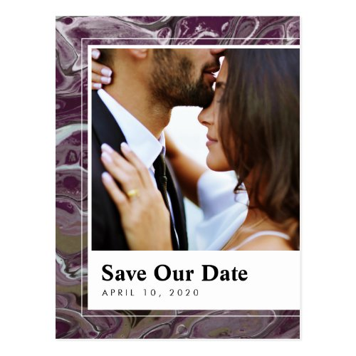Artistic Boho Purple Marble Save the Date Postcard