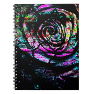 Artistic Colorful Painted Abstract Rose Spiral Note Book