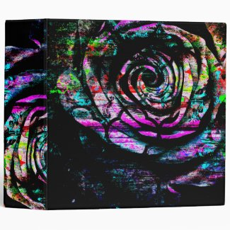 Artistic Colorful Painted Abstract Rose Vinyl Binders