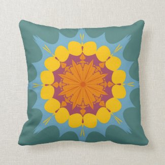 Artistic mandala in yellow, purple, blue throw pillow