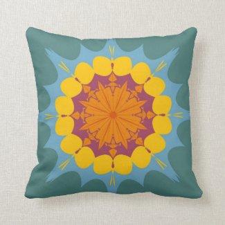Artistic mandala in yellow, purple, blue throw pillow