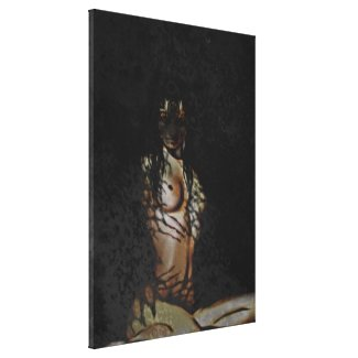 Artistic Nude Woman Tiger Stretched Canvas Print