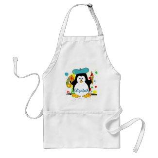 Artistic Penguin Painter Personalize Apron
