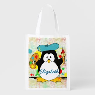 Artistic Penguin Painter Personalize Grocery Bag