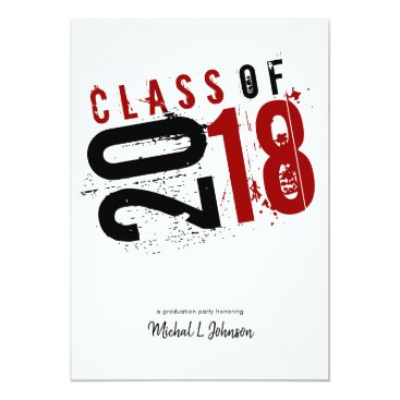 Artistic Red, Black and White Class of 2018 5x7 Card