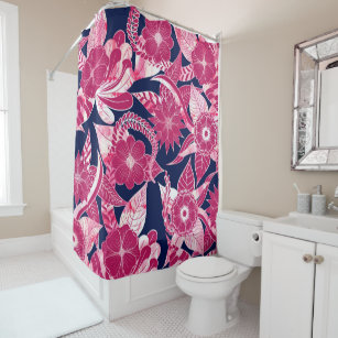 pink and navy shower curtains zazzle