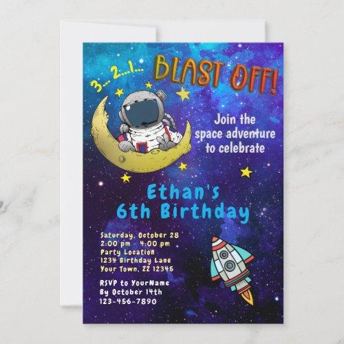 Astronaut & Moon Birthday Party Invitation
