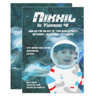 Astronaut Spaceman Galaxy Birthday Party Card