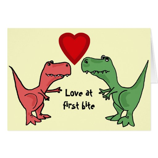Download AT- Love at First Bite Dinosaur Card   Zazzle