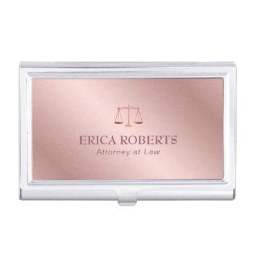 Attorney at Law Elegant Foil Rose Gold Lawyer Business Card Case