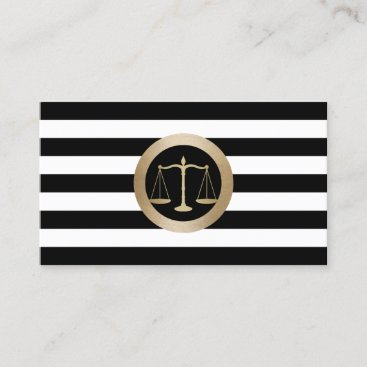 Attorney at Law Gold Scale Modern Stripes Lawyer Business Card