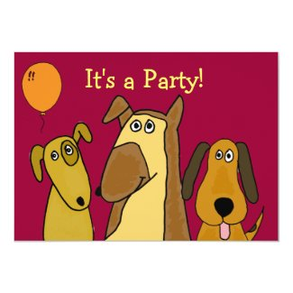 AU- Cute Puppy Dog Party Invitations