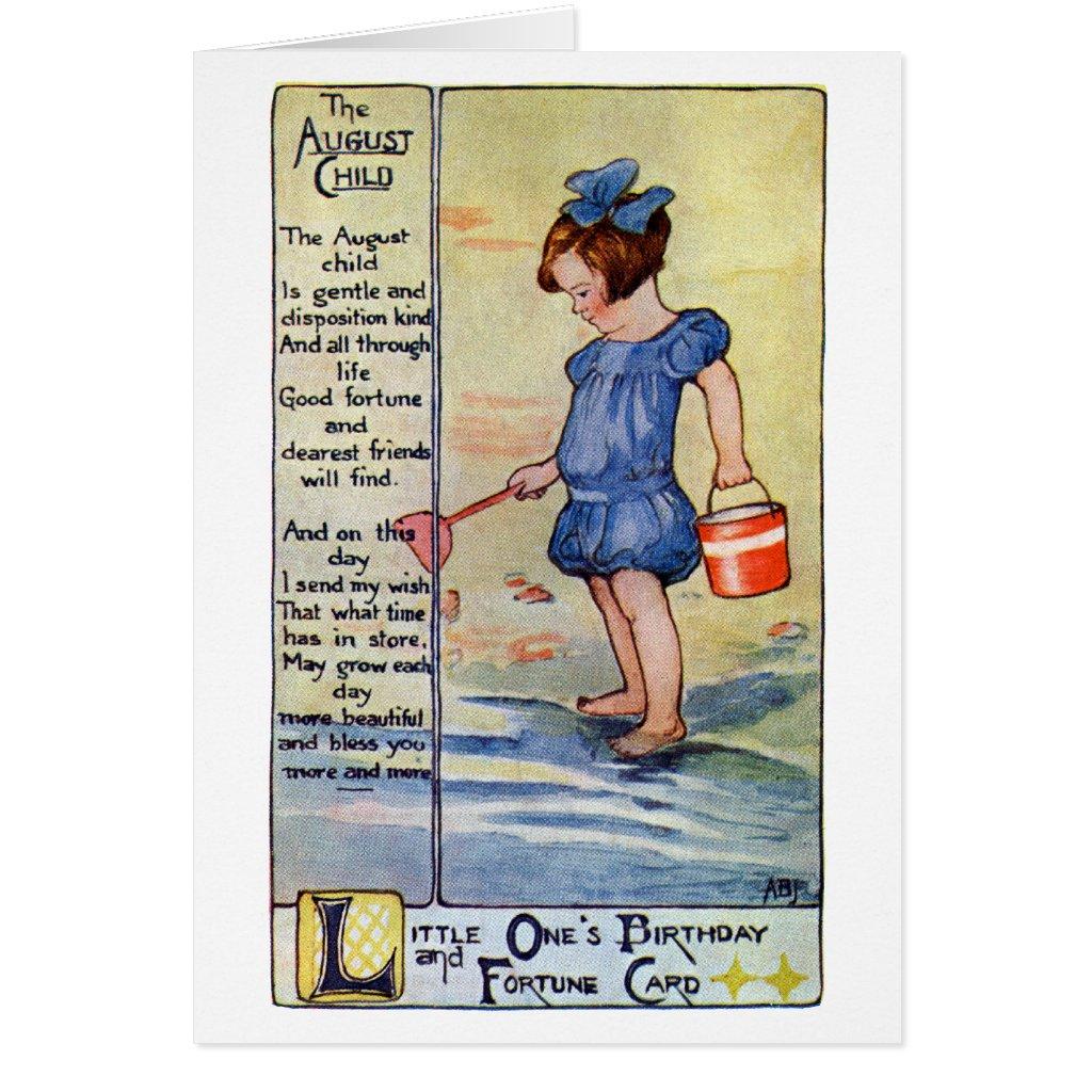 August Birthday Girl at the Beach Card