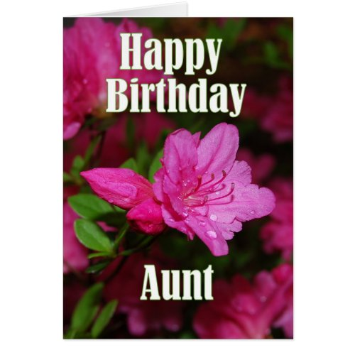 Aunt Pink Azalea Happy Birthday Card