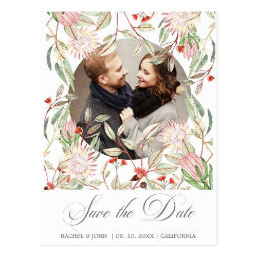 Australian Flowers Script Save the Date Photo Postcard