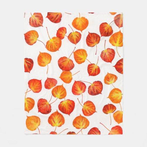 Autumn Aspen Leaf Print Fleece Blanket