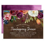 Autumn Boho Blooms Thanksgiving Dinner Invitation