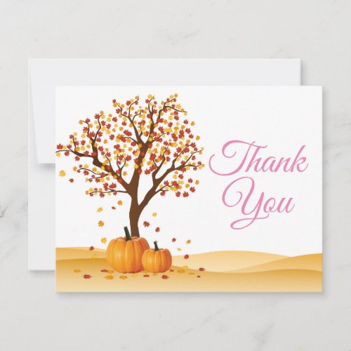 Autumn Fall Trees Pumpkin Thank You Card by Paper Creative Design