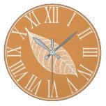 Autumn Fall White Leaf Skeleton Large Clock