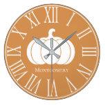 Autumn Fall White Pumpkin Silhouette Large Clock