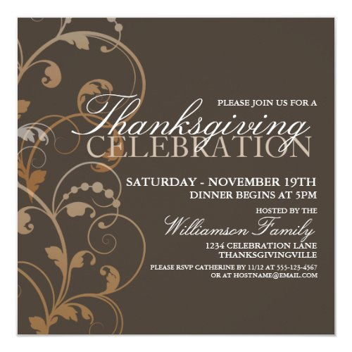 Autumn Floral Thanksgiving Dinner Invitation