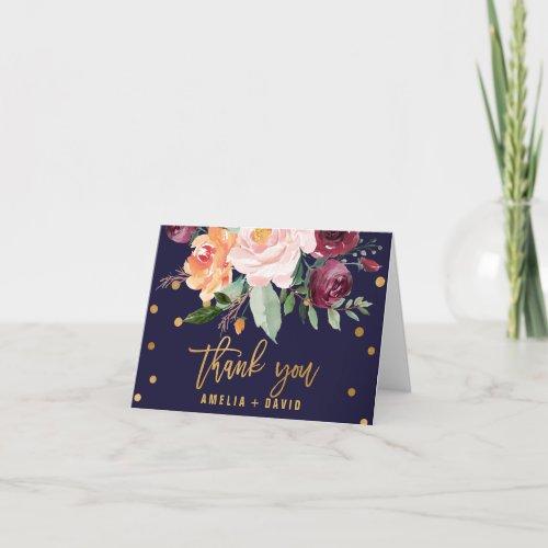 Autumn Floral Wedding Thank You Card