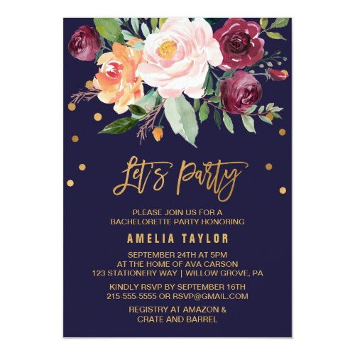 Autumn Floral with Wreath Backing Let&#39&#x3B;s Party Invitation