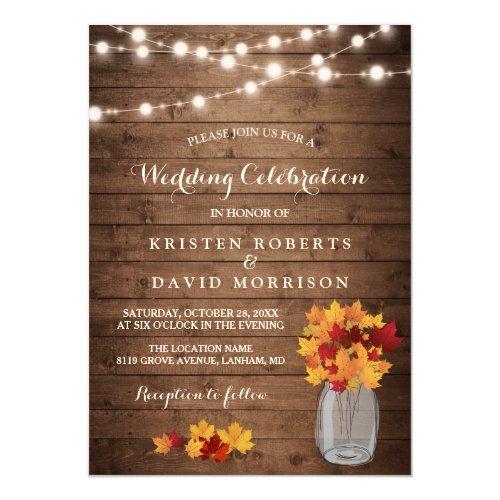 Autumn Leaves String Lights Rustic Fall Wedding Invitation