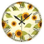 Autumn Sunflower Pattern Large Clock