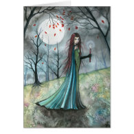 Autumn Wood Vampire Gothic Card Notecard