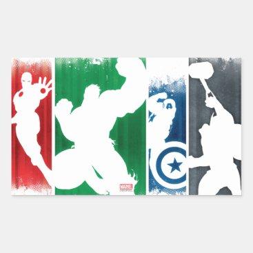 Avengers Classics | Paint Swatch Silhouettes Rectangular Sticker