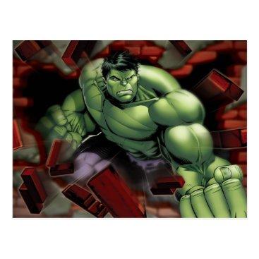 Avengers Hulk Smashing Through Bricks Postcard