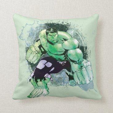 Avengers Hulk Watercolor Graphic Throw Pillow