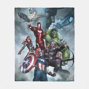 Avengers Versus Loki Drawing Fleece Blanket