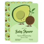 Avocado and Pit Cartoon Character Baby Shower Invitation